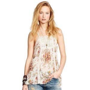 Cream Floral Stretch Lace Crochet Trim Tank Top L